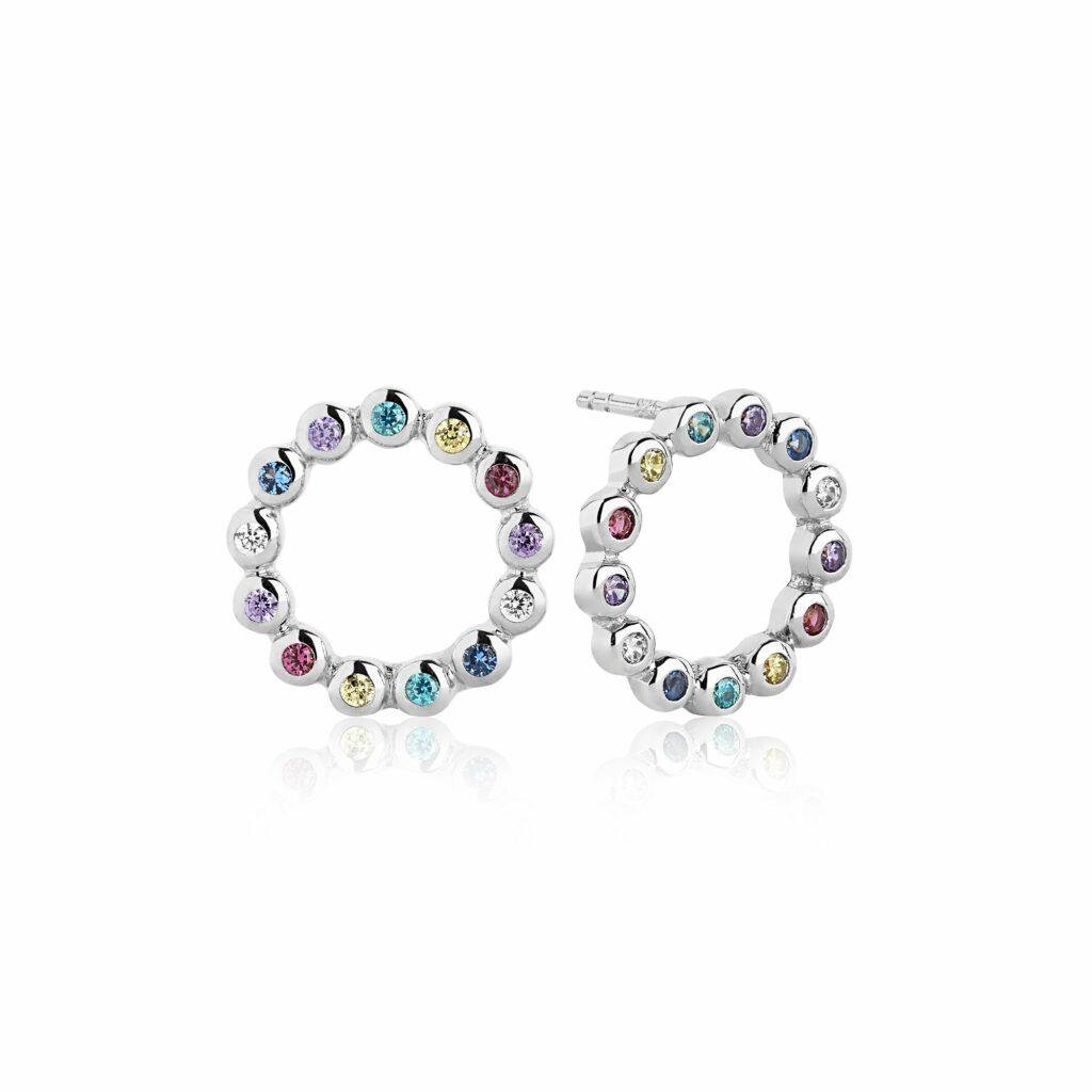 Silver and Colour CZ Sardinien Circolo Earrings