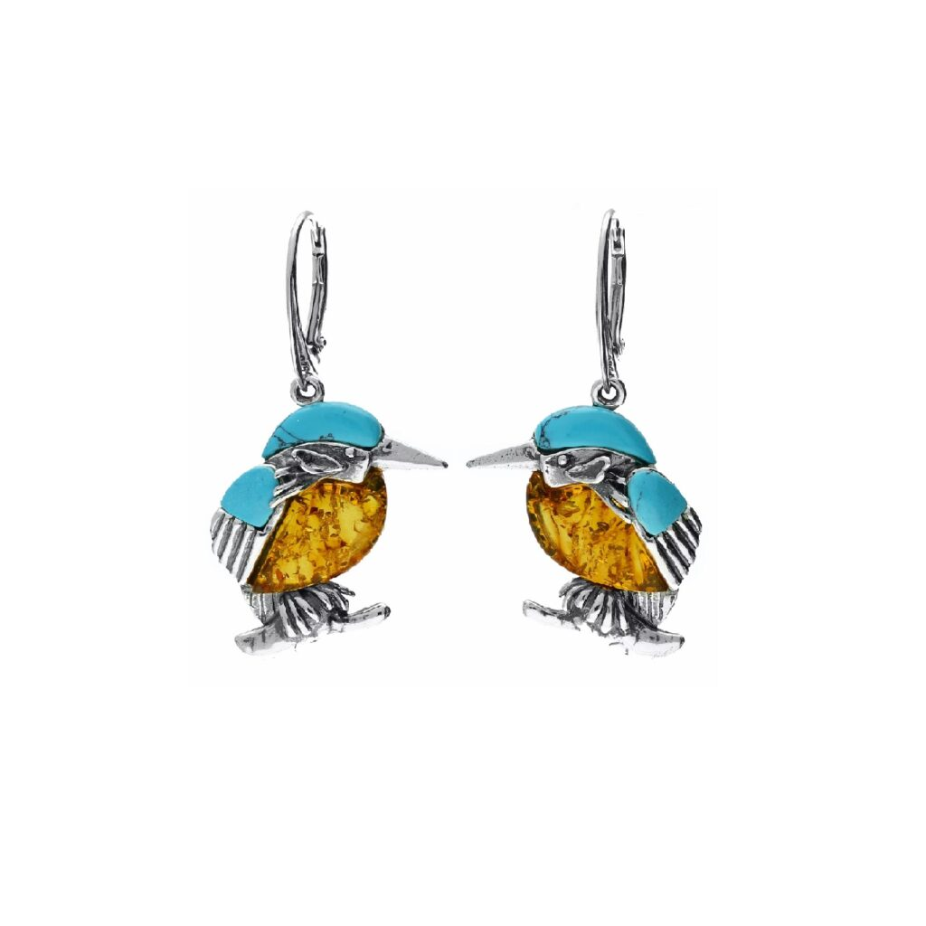 Kingfisher Turquoise and Amber Earrings