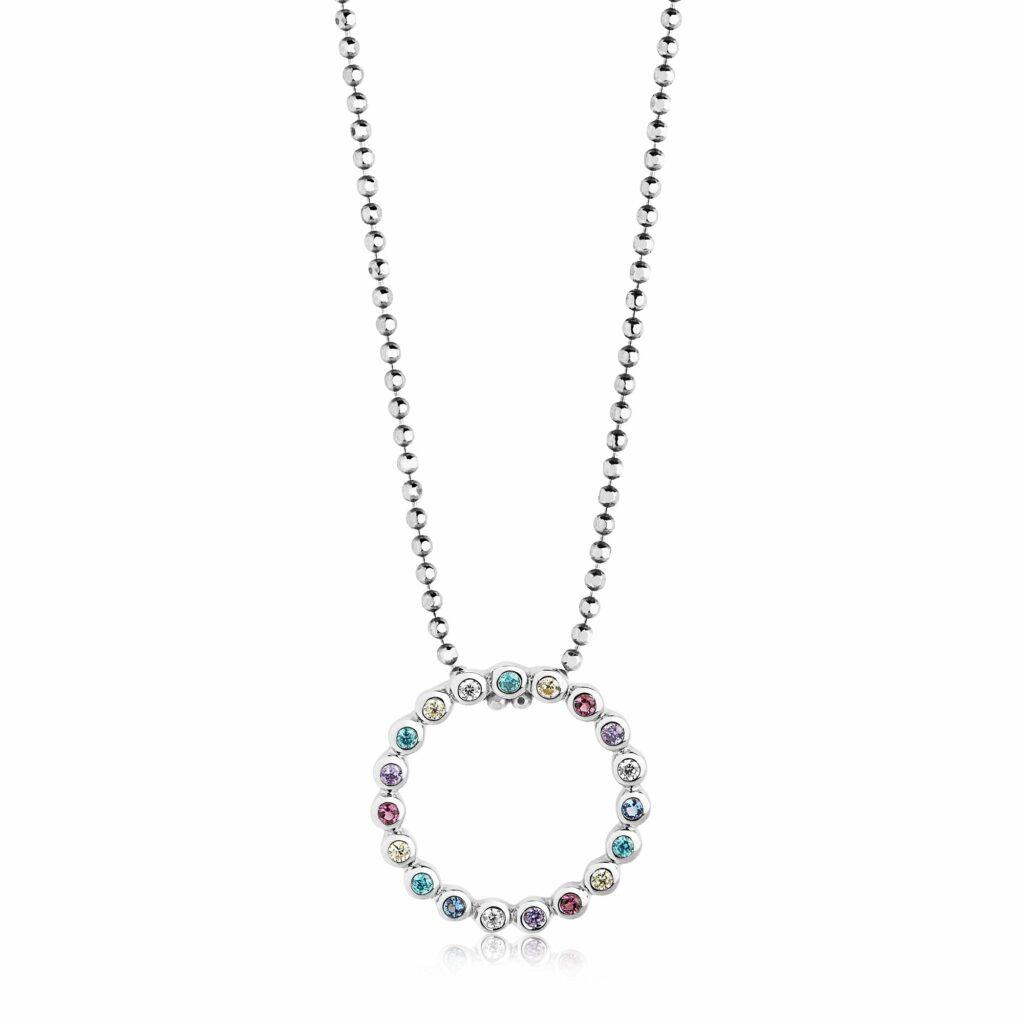 Silver and Multicolored CZ Sardinien Circolo Necklace