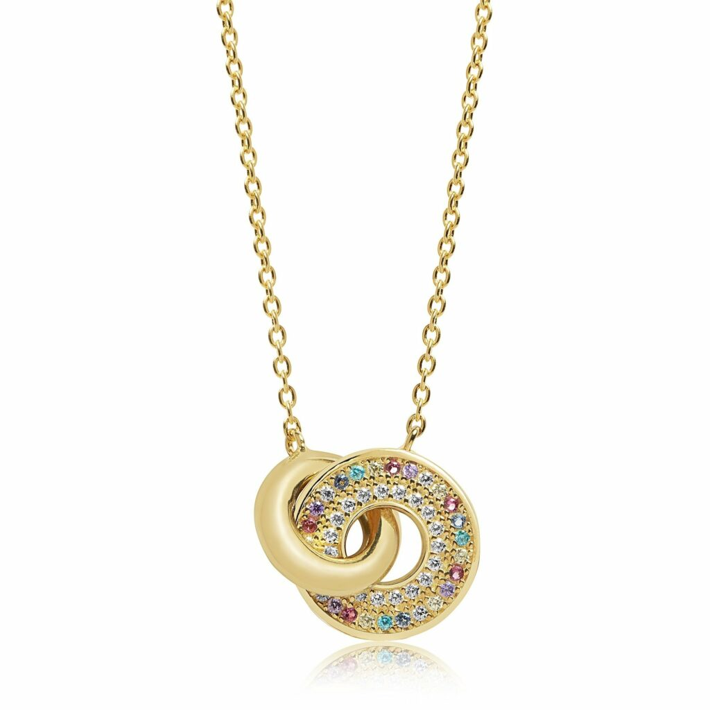 Gold Plated Silver and Multicoloured CZ Valiano Due Necklace