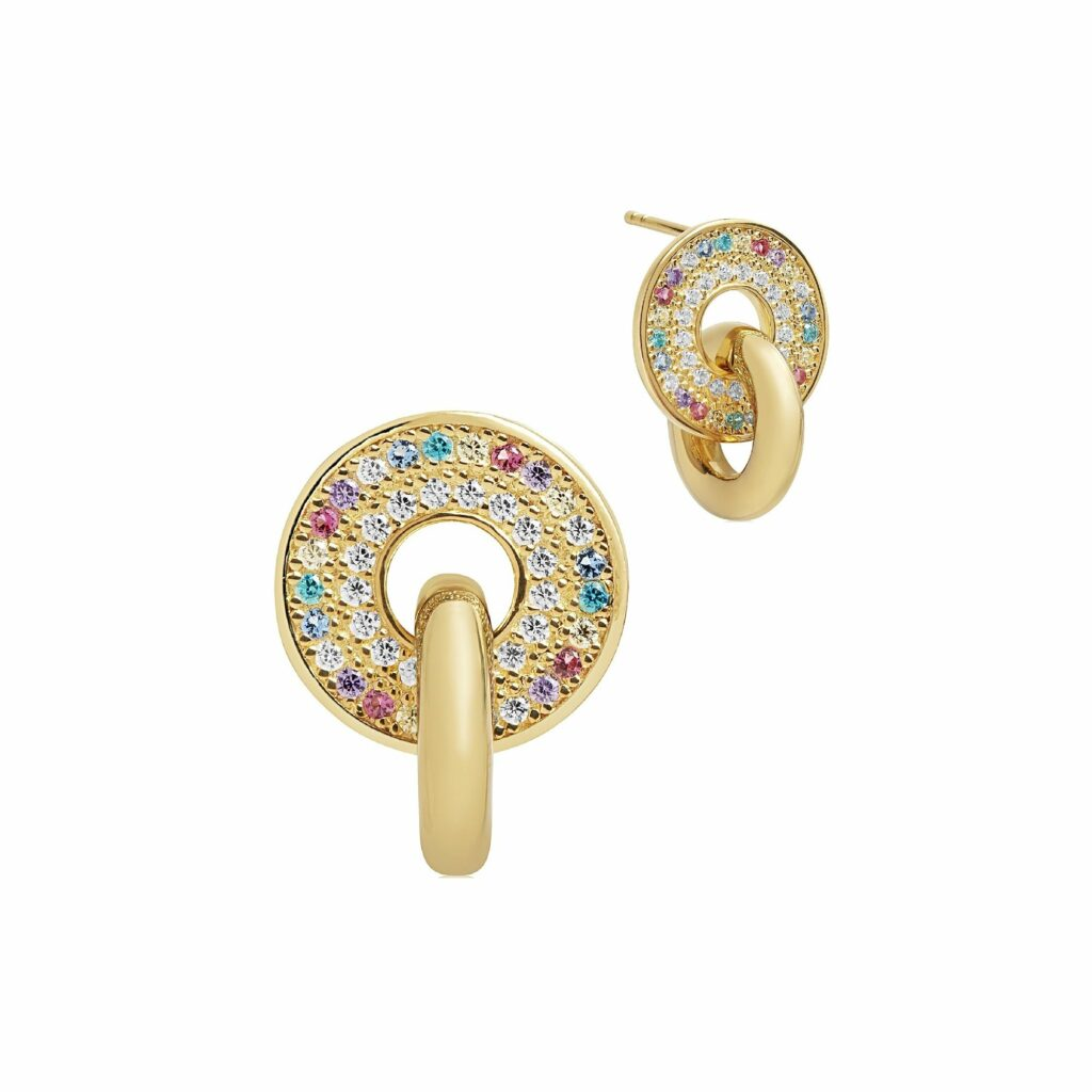 Gold Plated Silver and Multicoloured CZ Valiano Due Piccolo Earrings