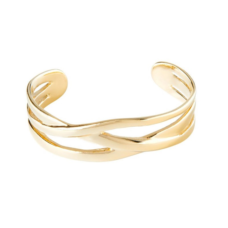 made of gold-plated metal. It consists of three rigid cross strips and has an open design